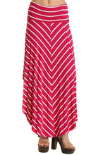 Load image into Gallery viewer, Fuchsia Striped Asymmetric Womens Fashion Maxi Skirt