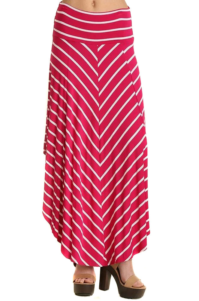 Fuchsia Striped Asymmetric Womens Fashion Maxi Skirt