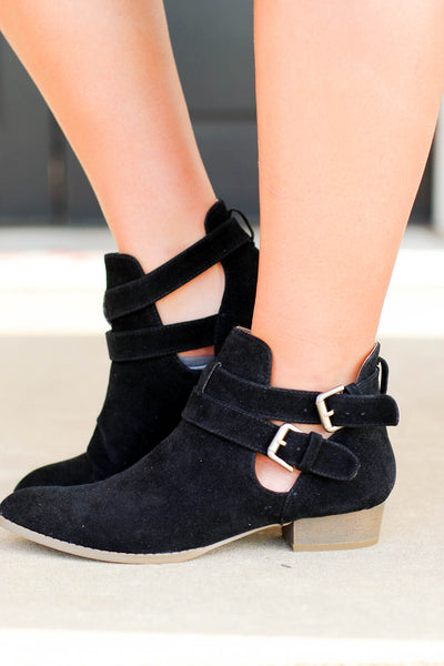 Double-Buckle Ankle Boot Faux Suede Women's