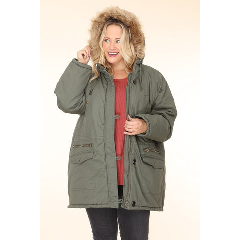 Plus Size Heavy Padded Hoodie Jacket Sherpa Lining