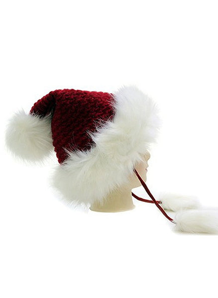 Super Furry Vegan Woven Santa Pom Pom Fashion Beanie Hat
