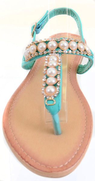 Pearls Jeweled Rhinestone T-Strap Flat Sandals