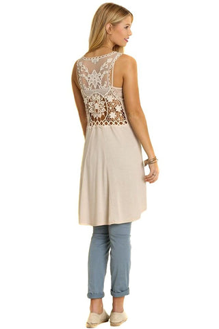 Floral Lace Open Back Hi-Low Asymmetric Tunic Dress