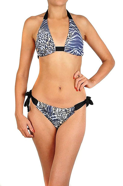 Women's Grey Animal Leopard Print Contrast Adjustable String Bikini