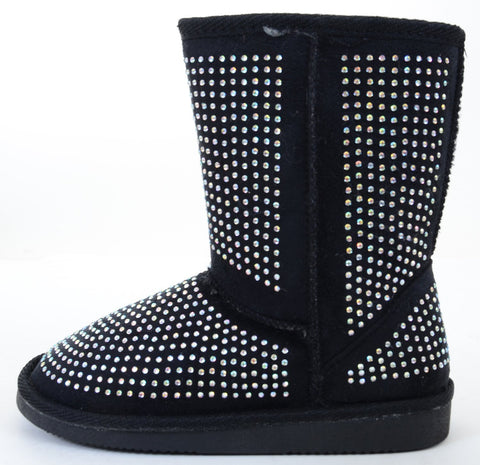 Fur Rhinestone Faux Shearling Black Round Toe Women's Boot