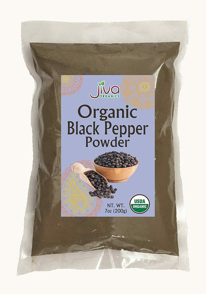 Jiva Organics Black Pepper Powder Ground (Table Grind) 7 Ounce