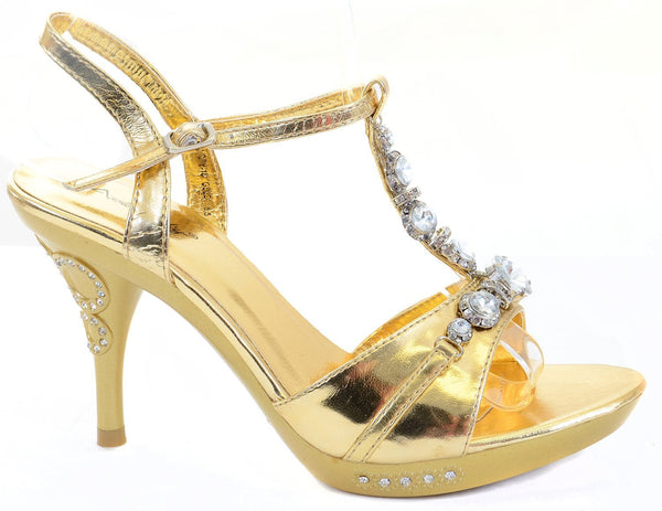 Chunky Jeweled Bling Crystals Gold Heels Formal Platform Sandals