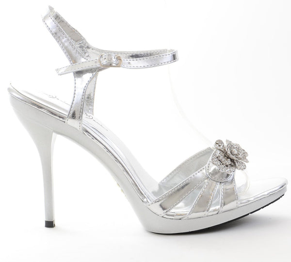 Jeweled Metallic Wedding Formal Evening Women's Platform Sandals
