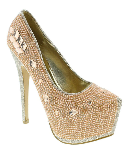 Rhinestone Platform Dressy Stiletto High Heel Pump Women's