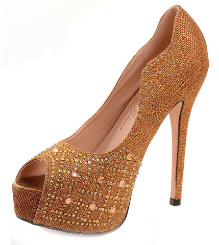 Sparkle Rhinestones Bronze Shimmer Peep Toe Women's Stiletto Pump