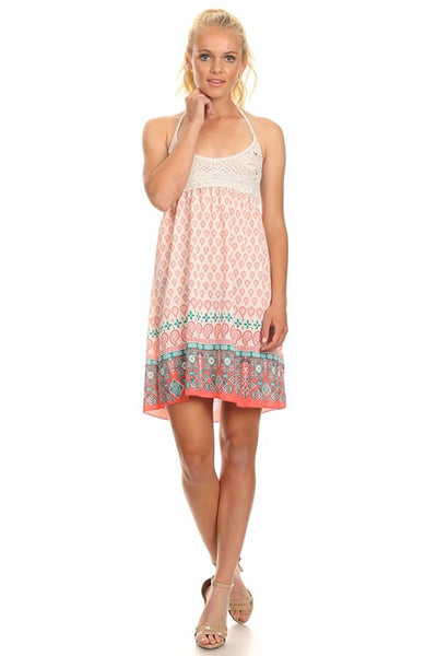 Crochet Lace Paisley Printed Boho Sleeveless Short Dress