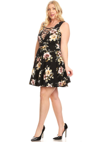 Floral Plus Size Strappy Elegant A-Line Cocktail Event Dress Womens