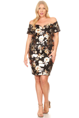 Plus Size Metallic Floral Off the Shoulder Bodycon Evening Dress Made in USA