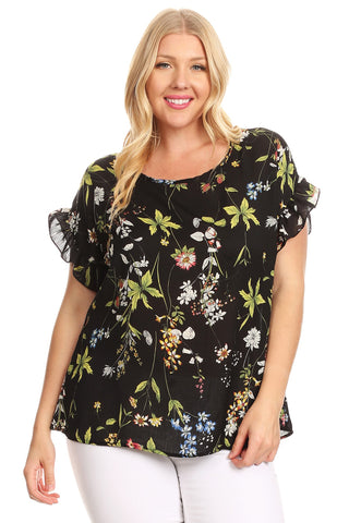 Plus Size Floral Print Ralxed Fit Ruffled Womens Versatile Blouse