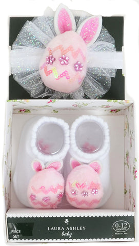 Baby Girls Sweet Pink Bunny Ears First Easter Sock & Headband Set
