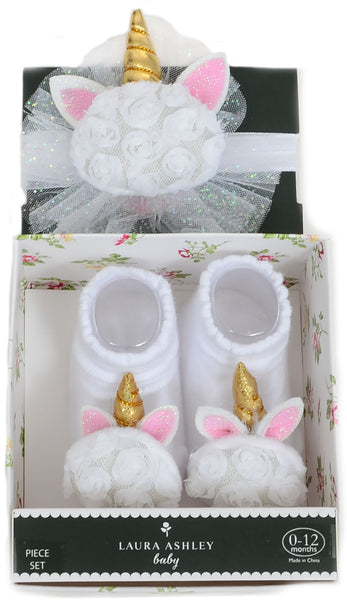 Baby Girls Pink Rosette Unicorn Glitter Sock & Headband Set
