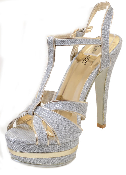 Glitter Cut-out Open Toe Platform T-Strap Women's High Heel Shoes