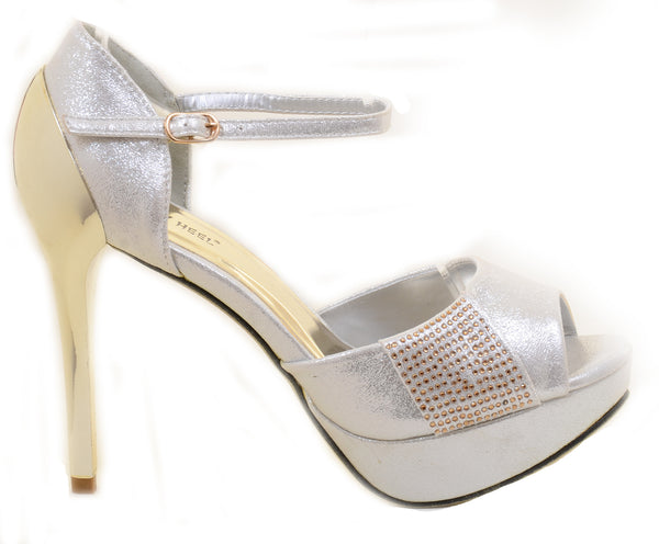 Shimmer Rhinestone Evening Platform Sandal Formal Women's Heels