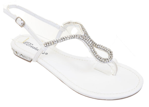 Jeweled Heels Rhinestone Bridal Party Flat Sandals Fourever Funky