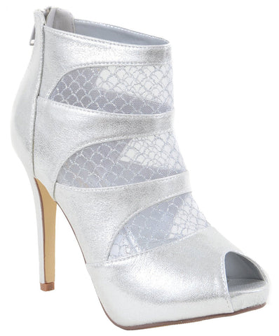 Silver Mesh Cut Out See Through Peep Toe Heel Booties Women's