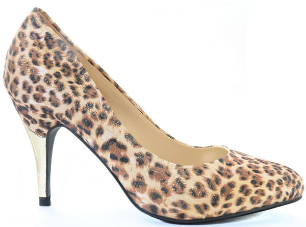 Leopard Shimmer Gold Low Heel Classic Pumps