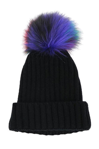 Solid Black Fashion Knit Beanie with Colorful Pom Detail