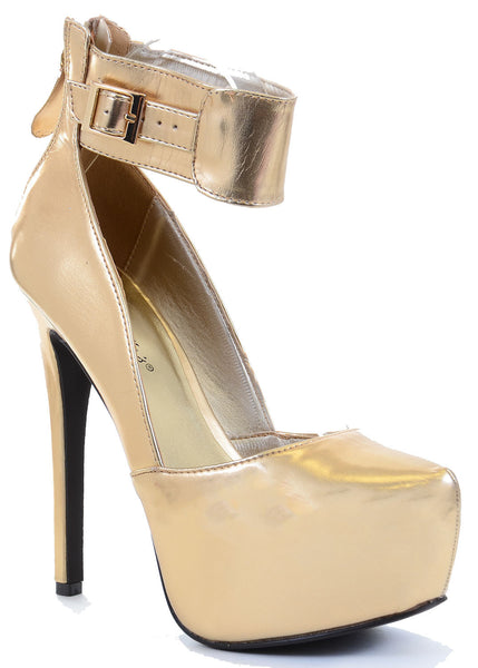 Metallic Gold Platform Ankle Stiletto Heel Pump