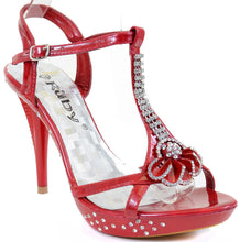 Load image into Gallery viewer,  Flower Open Toe Rhinestone Strappy Stiletto High Heel Sandal Shoe