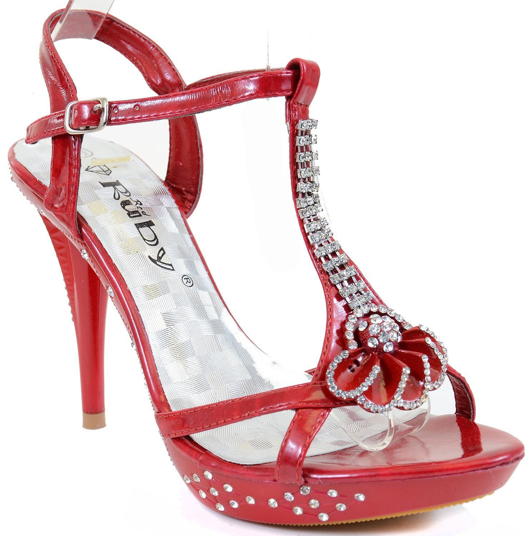 Flower Open Toe Rhinestone Strappy Stiletto High Heel Sandal Shoe