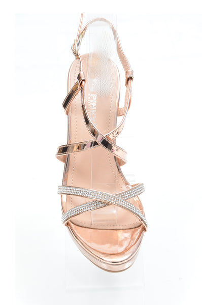 Rose Gold Rhinestone Jeweled Platform Sandal Formal Heels