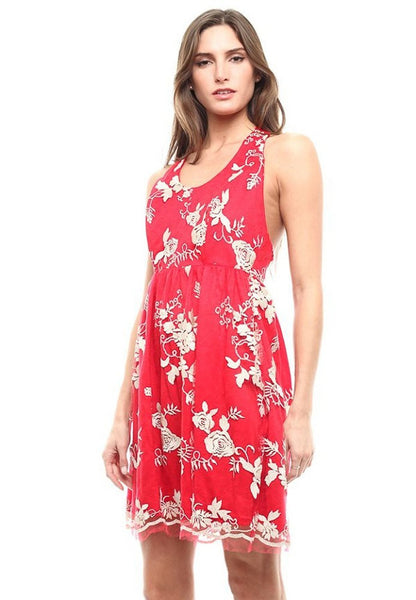 Red Floral Embroidered Open Back Mesh Sleeveless Cocktail Dress U.S.A.