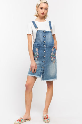 Distressed Light Wash Overalls Dress Embroidered Flowers