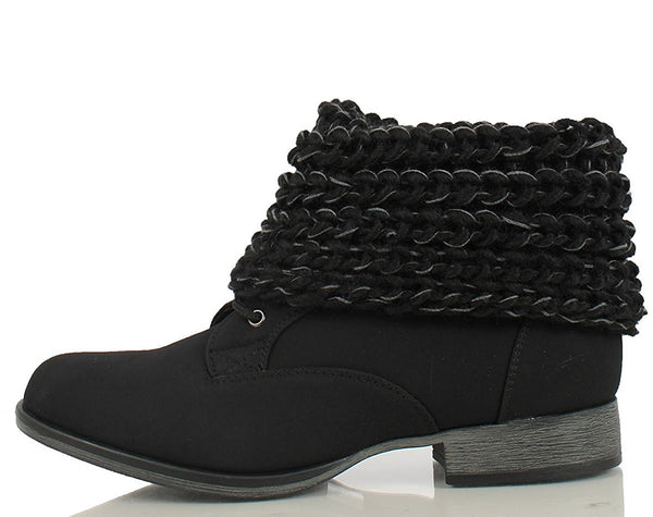 Women's Black Faux Nubuck Leather Sweater Ankle Cuff Boots