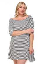 Load image into Gallery viewer, Plus Size Striped Off the Shoulder Short Knit Dress