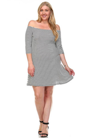 Plus Size Striped Off the Shoulder Short Knit Dress