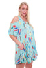 Boho Feathers Print Womens Plus Size Cold Shoulder Dress U.S.A