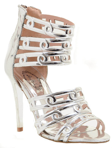 Metallic Chrome Silver Funky Cut-out Stiletto Open-Toe Women's Heels