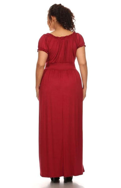 Womens Plus Size Solid Red Wench Style Maxi Dress U.S.A