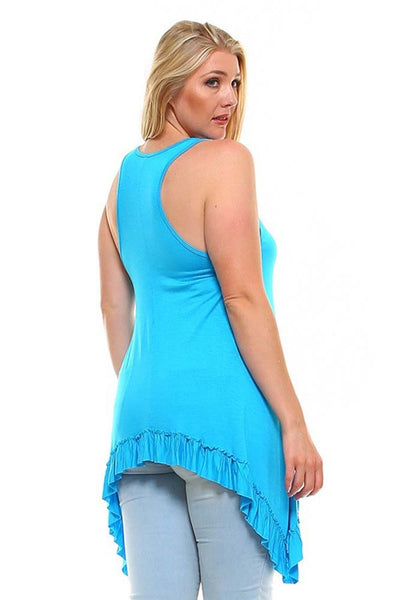 Womens Plus Size Solid Racer Back Tunic with Asymmetric Hem U.S.A