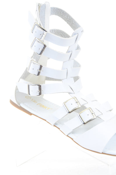 Gladiator Strappy Buckle Cuff Ankle Flats Vegan Sandal