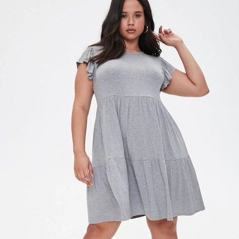 Plus Size Tiered-Hem Skater Dress  Heather Grey 3X