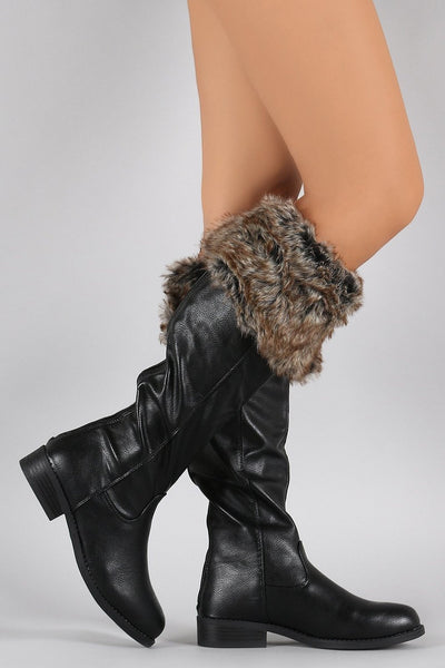 Faux Fur Cuff Round Toe Riding Knee High Vegan Boots