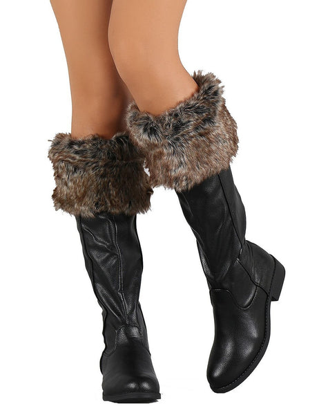 Black Faux Fur Cuff Round Toe Riding Knee High Vegan Boots