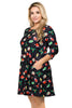 Plus Size Holiday Christmas Womens Fashion Fit & Flare Swing Dress w/Pockets