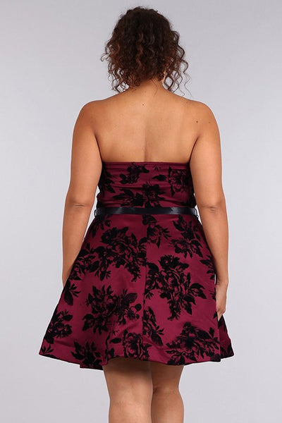 Plus Size Floral Design Strapless Fit & Flare Cocktail Dress U.S.A