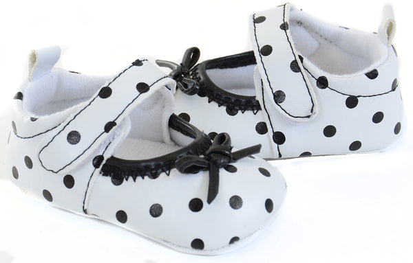 Baby Girl Black White Polka Dot Darling Mary Jane Soft Infant Flats