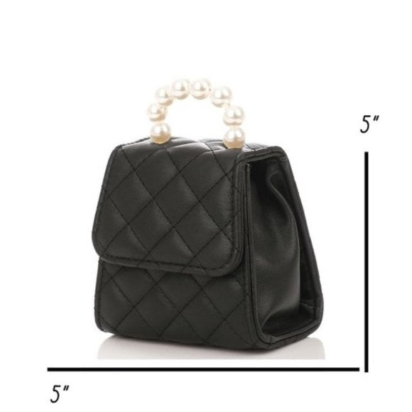 Pearl Top Handle Quilted Chain Crossbody Mini Bag