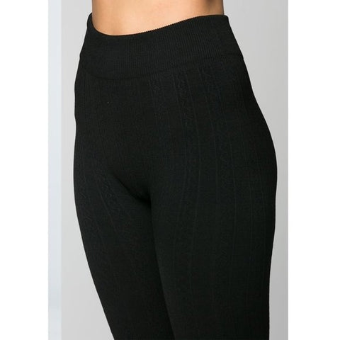 Fleece Textured High-Waist Full-length Leggings BLACK