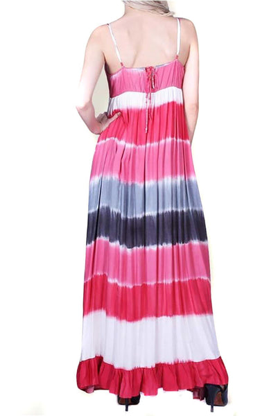Spaghetti Strap V-Neck Ruched Tie Dye Maxi Dress