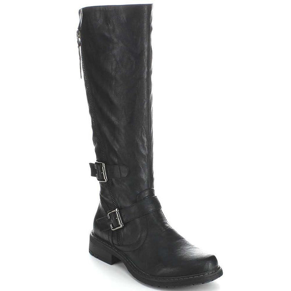 Black Riding Double Ankle Strap Knee-high Women